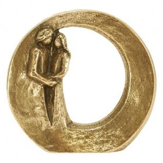 Steh-Plakette Paar Du bist geborgen Ø 9 cm Bronze Skulptur Bronze Figur