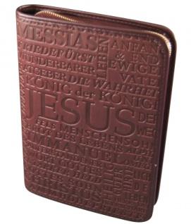 Gotteslobhülle Jesus Christus Kunstleder Braun Gesangbuch Einband Katholisch