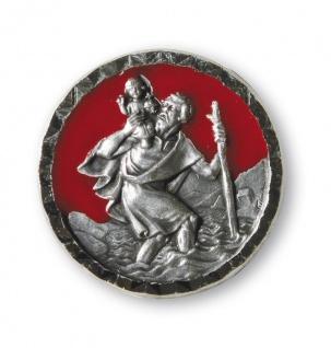Christophorus Autoplakette rubinrot Ø 2, 6 cm Magnet Klebepad Christopherus