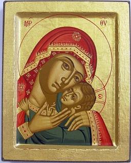 Ikone Madonna Korunskaia 12 cm vergoldet Handarbeit aus Griechenland