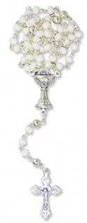 Rosenkranz Glasperlen weiß 27 cm gekettelt Kelch zur Kommunion