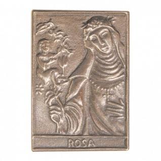 Namenstag Rosa 8 x 6 cm Bronzeplakette Bronzerelief Wandbild Schutzpatron