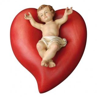 Herz mit Jesukind Holzfigur geschnitzt Südtirol Weihnachtsdekoration