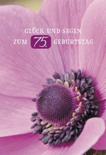 Glückwunschkarte Glück und Segen zum 75. Geburtstag (6 St) Blumen Lutherbibel