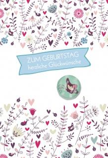 Glückwunschkarte Geburtstag Glasmagnet 5 St Kuvert Schmetterling Blumen Wiese