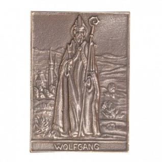 Namenstag Wolfgang 8 x 6 cm Bronzeplakette Bronzerelief Wandbild Schutzpatron - Vorschau