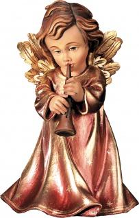 Weihnachtsengel mit Klarinette Holzfigur geschnitzt Südtirol