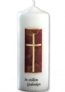 Trauerkerze In stillem Gedenken Kreuz gold rot 22 cm Handarbeit Tischkerze