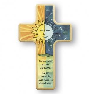 Kreuz für Kinder Sonne Mond 18 cm Kruzifix Holz-Kreuz Wandkreuz