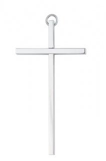 Wandkreuz schlicht glatt Kreuz Messing vernickelt 25 cm silberfarben Kruzifix