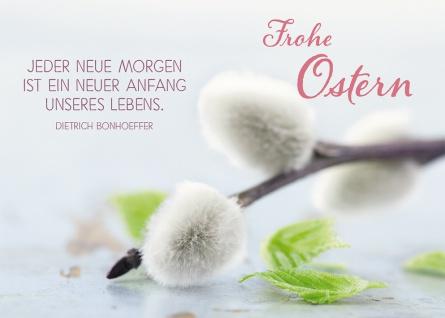 Postkarte Frohe Ostern (10 St) Weidenkätzchen Dietrich Bonhoeffer Grußkarte