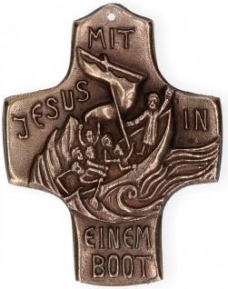 Kommunionkreuz Mit Jesus in einem Boot 10 cm Wandkreuz