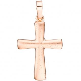 Schmuck Kreuz Anhänger 925 Silber rotgold vergoldet mattiert Religiöser Schmuck