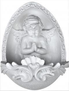 Weihwasserkessel Schutzengel Arme gekreuzt weiß 11 cm Kommunion Weihbecken