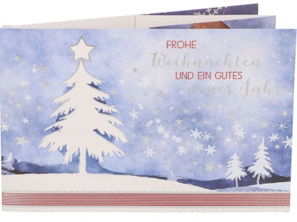 Grußkarte Teelichtkarte Frohe Weihnachten und ein gutes neues Jahr (5 Stück)