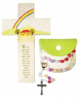 Rosenkranz Geschenkset zur Erstkommunion grün Kinderkreuz Kommunion