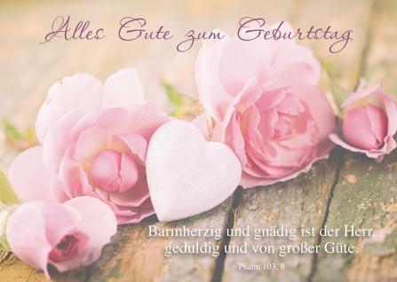 Postkarte Alles Gute zum Geburtstag (10 St) Herz und Blumen Psalm Lutherbibel