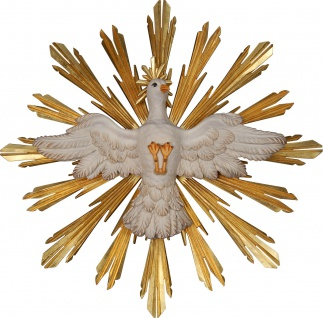 Heiliger Geist mit Strahlenkranz Holzfigur geschnitzt Südtirol Heiligenfigur