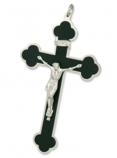 Sterbekreuz Kleeblatt schwarz 11 cm Christliches Kreuz
