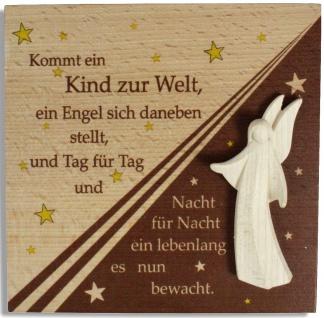 Schutzengel Bild Ein Kind kommt zur Welt 14 cm Holz Südtirol Engel zur Geburt
