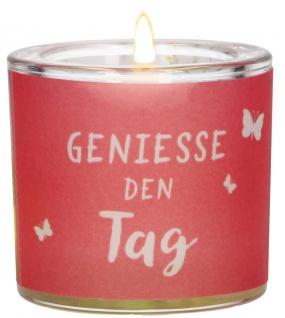 Windlicht Glas Genieße Tag Teelicht Geschenkverpackung Pergamentumleger