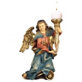 Chorengel mit Kerze rechts Holzfigur geschnitzt Engelfigur Südtirol