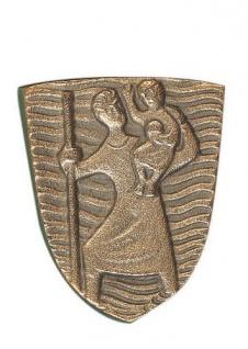 Autoplakette Christophorus 3, 6 cm Bronze Christophorus Plakette