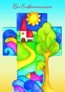 Kommunionkarte Zur Erstkommunion (6 Stck) Glückwunschkarte Kommunion Grußkarte