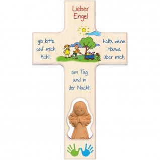Kinderkreuz Tonengel Ahornholz Text Lieber Engel 20 cm Wandkreuz Gebet Bildmotiv