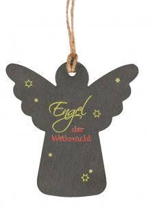 Anhänger Engel der Weihnacht mit Hanfband zum Aufhängen Schiefer