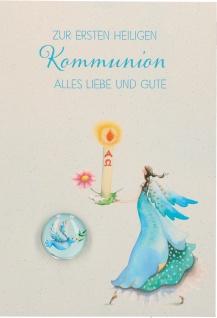 Glückwunschkarte Glasmagnet zur ersten heiligen Kommunion 5 Stück Kuvert