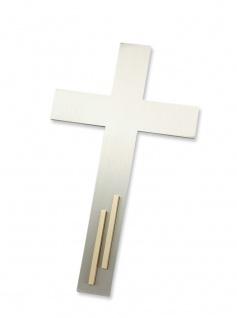 Wandkreuz Edelstahl mattiert Kreuz 15, 5 cm Messing Stabauflage modern Stahlkreuz