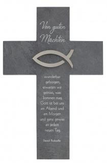 Wandkreuz Schiefer Ichthys Fisch Edelstahl Kreuz 21 cm Bonhoeffer Kruzifix