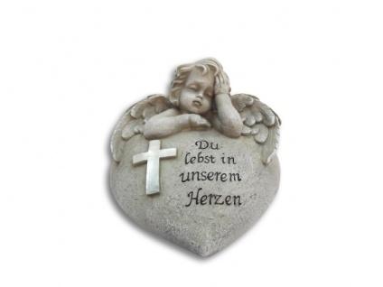 Engel Du lebst in unserem Herzen Grabschmuck 15 cm