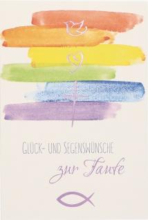 Taufkarte Glück- und Segenswünsche Taufe (6 Stck) Set Glückwunschkarten Kuvert