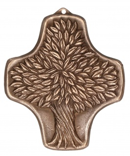 Symbolkreuz Lebensbaum Bronze Kruzifix Kreuz Hans-Peter Fonteyne