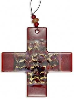 Kreuz aus Glas Kreuz dunkelrot marmoriert 11, 5 cm Wandkreuz Modern Kruzifix