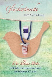 Glückwunschkarte Geburtstag Geldgeschenk Vogel 5 St Kuvert mit Band Naturpapier