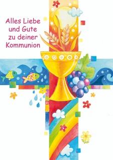 Glückwunschkarte Kreuz mit christlichen Symbolen Kommunion (6 Stück) Grußkarte