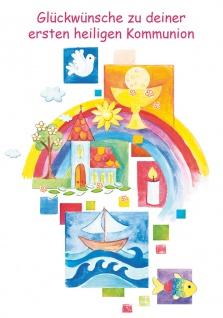 Glückwunschkarte Christliche Symbole zur ersten heiligen Kommunion (6 Stück)