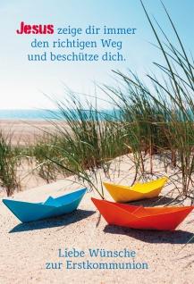 Glückwunschkarte Liebe Wünsche zur Erstkommunion mit farbigem Kuvert 6 Stk