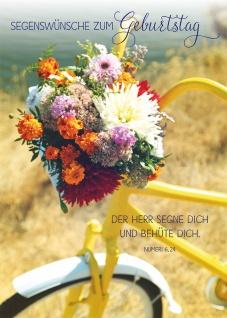 Postkarte Geburtstag Fahrrad Blumen 10 St Adressfeld Bibelwort Segen Schutz