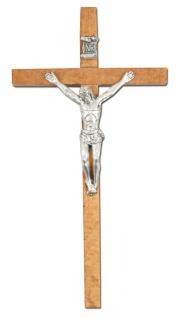 Handkreuz Kruzifix Naturholz 13 cm Jesus Metall Korpus Jesus Christus Kreuz
