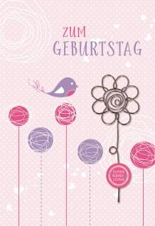 Glückwunschkarte Geburtstag Draht-Blumenstecker 5 St Kuvert Blumen Naturpapier