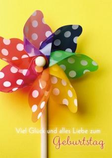 Geburtstagskarte Viel Glück alles Gute (6 Stck) Glückwunschkarte Kuvert