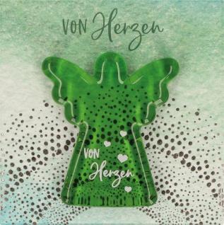 Handschmeichler von Herzen Engel Glas grün 4, 5 cm