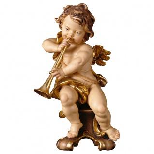 Putte mit Posaune auf Standkonsole Holzfigur geschnitzt Südtirol Puttenfigur