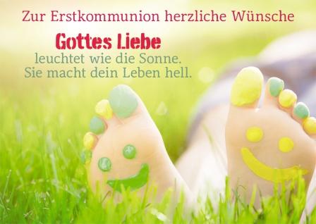 Kommunionkarte Smiley Zur Erstkommunion (6 Stck) Glückwunschkarte Kommunion