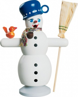 Räuchermännchen Schneemann mit blauem Topf 16 cm Erzgebirge Handarbeit Holzfigur