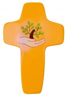 Kinderkreuz Leben Gottes Hand Holz bemalt 14 cm Wandkreuz Holzkreuz Fair Trade